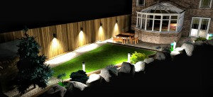 Raised lawn with sleeper retaining wall
